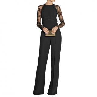 Elie Saab Wide Leg Black Lace Panelled Jumpsuit