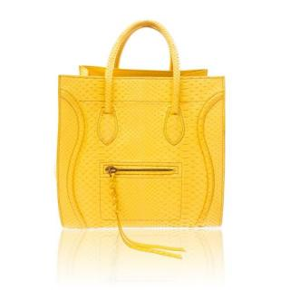 Celine Yellow Python Medium Phantom Luggage Tote Bag