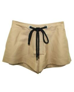 Marni Beige Cotton Button and Drawstring shorts