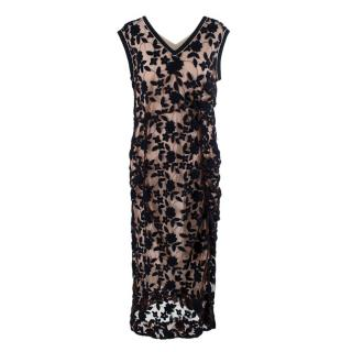 Marni Floral Embroidered Mesh Sleeveless Dress