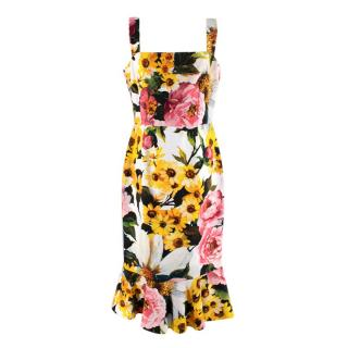 Dolce & Gabbana Floral Print Fitted Sleeveless Dress