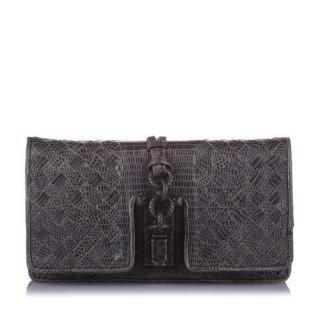 Bottega Veneta Intrecciato Lizard Leather Clutch Bag