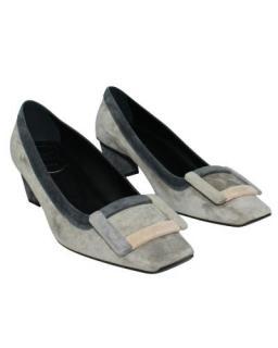 Roger Vivier Grey Suede Belle Vivier 45mm Heels