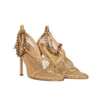 Bottega Veneta Chain-Embellished Mesh Sandals 90mm