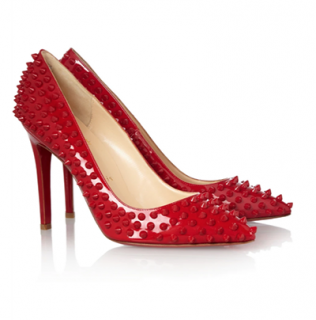 Christian Louboutin Red Patent Leather Spiked Pumps