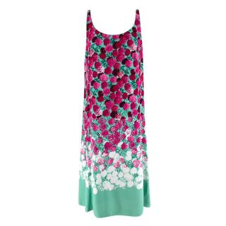 Marc Jacobs Turquoise & Pink Sleeveless Floral Dress