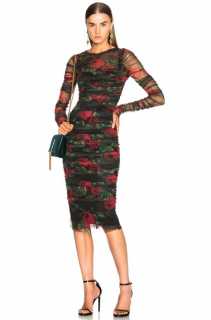 Dolce & Gabbana Rose Print Tulle Ruched Dress