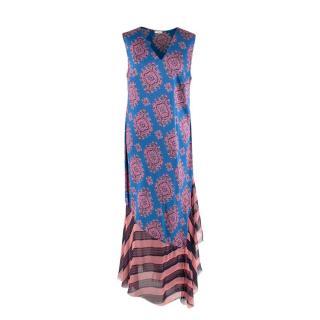 Dries Van Noten Pixelated Paisley Print Contrast Hem Silk Midi Dress