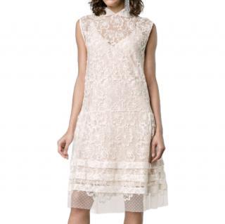Miu Miu White Floral Lace Sleeveless Dress