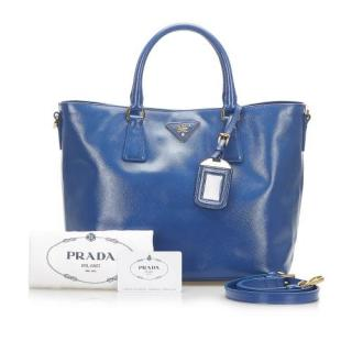 Prada Glossy Blue Saffiano Leather Galleria Bag