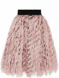 Dolce & Gabbana pink silk feather detail skirt