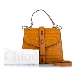 Chlo� aby croc-embossed leather shoulder bag