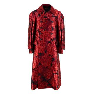Comme Des Garcons Red Floral Metallic Double Breasted Coat