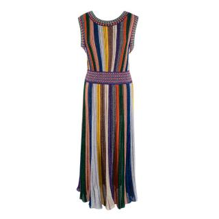 Missoni Metallic Knit Striped Sleeveless Dress
