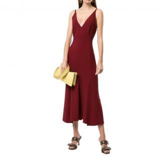 Victoria Beckham Burgundy V-Neck Midi Slip Dress