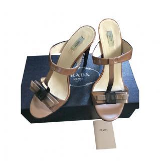 Prada Tan Leather Bow Applique Mules
