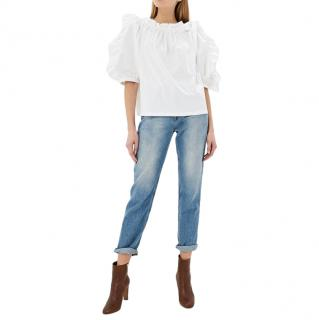See By Chloe White Pleated Cotton Blouse