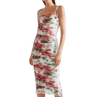 Dolce & Gabbana Floral Ruched Tulle Lace-Up Dress