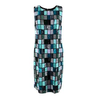 Emilio Pucci Sleeveless Sequin Blue Shift Dress