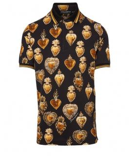 Dolce & Gabbana Black & Gold Sacred Heart Polo Shirt