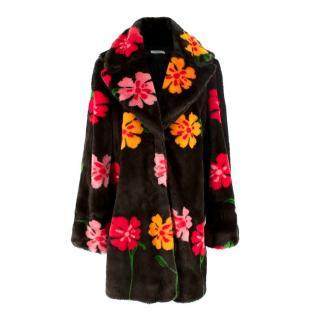 Vivetta Krafft Floral-print Faux Fur Coat