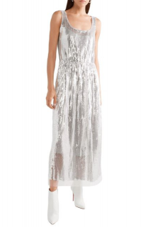 Marc Jacobs Belted Silk Tulle Panel Sequin Dress
