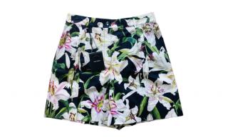 Dolce & Gabbana Black Lilly print cotton shorts