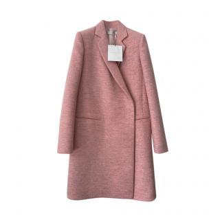 Victoria Beckham Virgin Wool Pink Asymmetric Coat