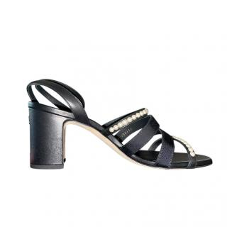 Chanel leather & grosgrain faux pearl embellished sandals