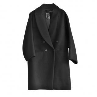 Isabel Benenato double breasted black wool coat