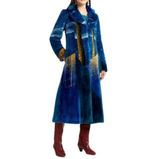 Marco De Vincenzo Blue Factory Faux Fur Coat