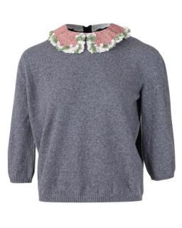 Valentino embellished silk collar cashmere blend jumper