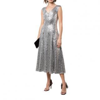 Norma Kamali Grace Sequin A-line Midi Dress