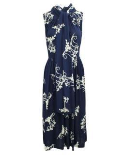Prada Navy & White Printed Sleeveless Pussybow Dress