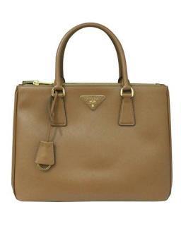 Prada Brown Saffiano Leather Lux Galleria Tote