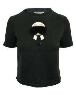 Fendi Black Mink Fur Karlito T-Shirt