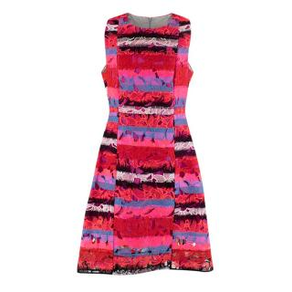 Peter Pilotto Patchwork Floral Embroidered Pink A-Line Dress