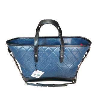 Chanel Blue & Black Aged Calfskin Gabrielle Tote Bag