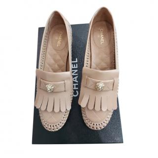 Chanel Beige Fringed Quilted Leather Loafers