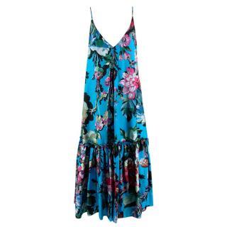 Dries Van Noten Silk Floral Blue Cami Dress
