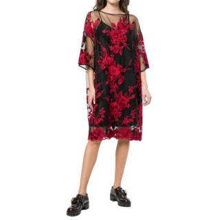 Antonio Marras Floral Embroidered Sheer Black Dress