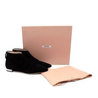 Miu Miu Crystal Heel Black Suede Flat Ankle Boots