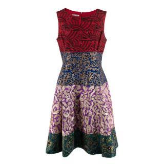 Oscar De La Renta Multicolour A-Line Embellished Dress