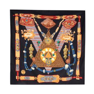 Hermes Black Tibet Printed Silk Scarf 90