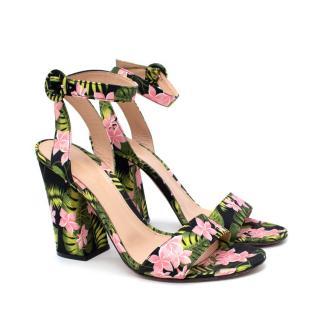 Gianvito Rossi Tandi Floral Ankle-wrap Sandal