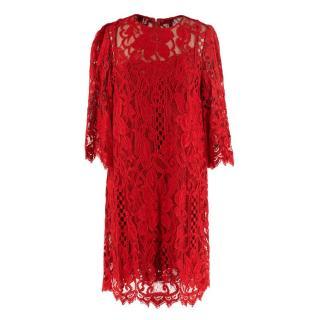 Dolce & Gabbana Red Lace LS Shift Dress