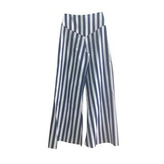 Alexandra Miro blue palazzo-striped cotton pants
