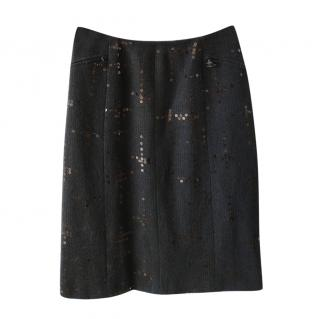Chanel Sequin Embroidered Black Tweed Skirt