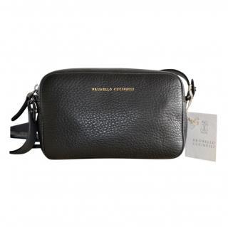 Brunello Cucinelli pebbled-leather black belt bag