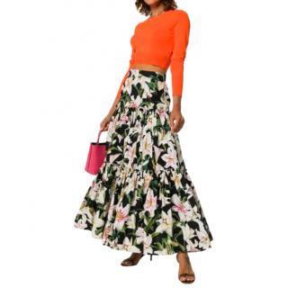 Dolce & Gabbana Cotton Poplin Lily Print Maxi Skirt